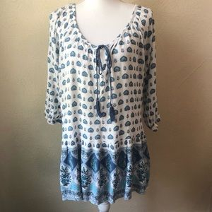 Simply Emma Peasant Tunic 1XL White and Blue
